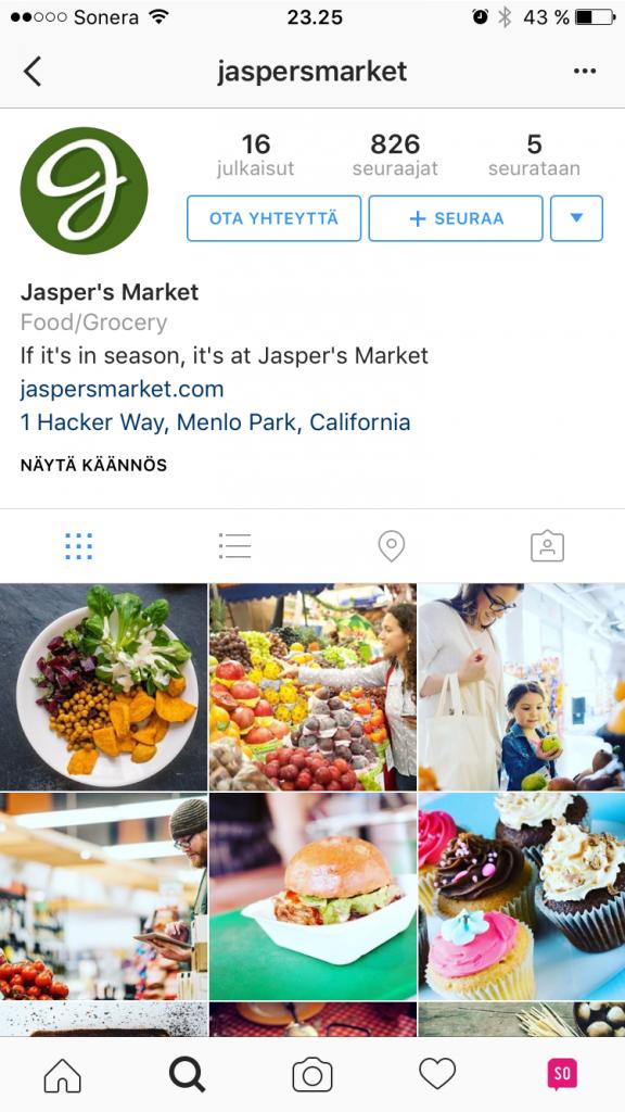 Instagram-yrityssivu